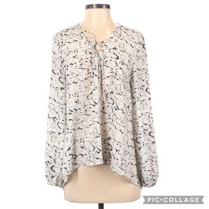 Eight Sixty Snake Print Tie Front Long Sleeve Top